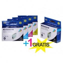 Pack 4 Inktpatronen + 1 GRATIS - 18 XL