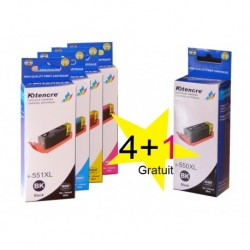 Lot Cartouches CLI551XL / PGI550XL - 4 + 1 GRATIS